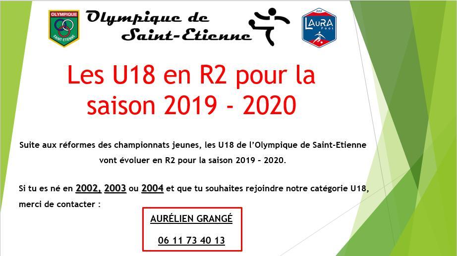 Les U18 en R2 pour la saison 2019-2020